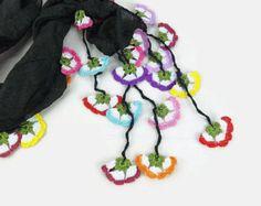 Turkije Turkse OYA sjaal zijden sjaal effen zwarte door Scarves2012