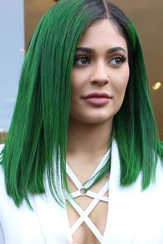 "Kylie Jenner sporting a new hair style ""forest green """