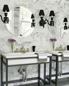 Wow, what a bathroom! Love that sink!! White Carrara marble backsplash wall
