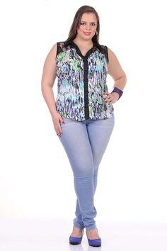 Moda feminina plus size   86812 Camisete estampada com renda