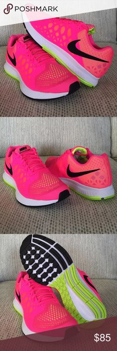 Nike Air Zoom Pegasus 31, hot pink and neon green, leather and pink mesh with green underneath, literally worn 1 time Nike Shoes Athletic Shoes