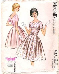 Vintage Pattern McCalls 5764 Misses Dress With Box Pleated Skirt 60s Size 12 B32