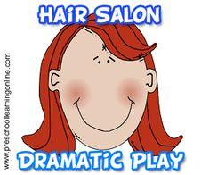 Hair Salon Dramatic Play Activity For Kids - http://www.preschoollearningonline.com/dramatic-play/hair-salon-kids-dramatic-play.html