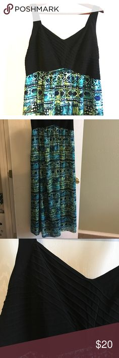 Tribal Maxi Long comfortable maxi dress with blue and green tribal print. Top and inner lining are stretchy. The top has some nice detailed folds and stitching. Dress was never worn out the door, only tried on at home. (My hubby didn't care for the dress on me.) No tears or stains that I could see. Dresses Maxi