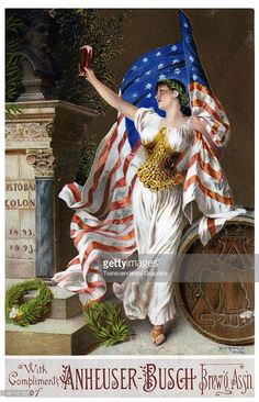 An American Gilded Age era, complimentary trade card, Advertisement for Anheuser - Busch beer. A patriotic ad with lady holding an American flag. A keg of beer with the Anheuser-Busch beer symbol visible. Patriotic Posters, Patriotic Images, Vintage Labels, Vintage Ads, Vintage Posters, American Beer, American Flag, National Symbols, Patriotic Decorations