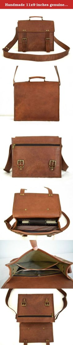 """Handmade 11x9 inches genuine leather computer messenger laptop satchel handbag small. Product Details : ✔ Outside Measurements (In inches) - 11"""" (Length) x 9"""" (Height) x 3"""" (Width) ✔ Inside Measurements (In inches) - 10.25"""" (Length) x 8.5"""" (Height) x 2.5"""" (Width) ✔ Front: 1 zipper pocket ✔ Inside: 3 compartments and 1 zipper pocket ✔ 1.5"""" wide and 58"""" long adjustable leather shoulder strap with hand carry ✔✔ 100% Genuine leather product."""