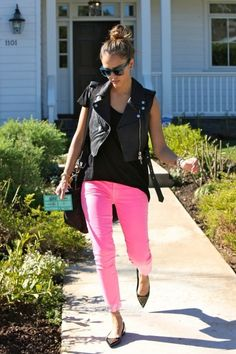 Fashion World: pink trouser,black tee shirt,jacket,bag and shoes