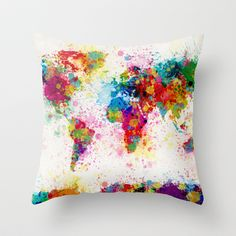 Map of the World Map Paint Splashes Throw Pillow by ArtPause - $20.00