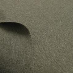 Hanfstoff Jersey graugrün - Siebenblau