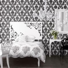 Probably wouldnt choose damask but its black and white