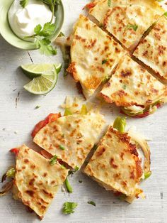Fajita-Style Quesadillas Recipe (we will be topping with salsa, sour cream, tomatoes, lettuce, & olives next time)