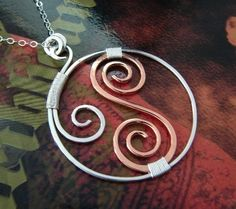 With Copper - Wire wrapped sterling silver necklace