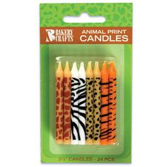 Jungle Animal Print Giraffe Zebra Leopard Tiger 24 Birthday Party Cake Candles | eBay