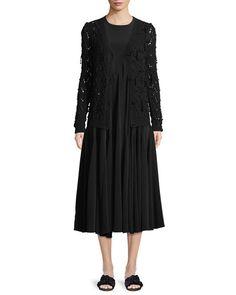 -7KPM Co Bead-Embellished Hand-Knit Crochet Wool-Cashmere Cardigan Sleeveless Gathered Tacked-Waist Crepe Dress