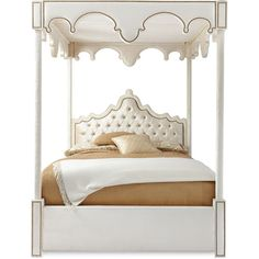 Haute House William Queen Canopy Bed ($6,599) ❤ liked on Polyvore featuring home, furniture, beds, bedrooms, queen canopy bed frame, hollywood furniture, queen canopy bed, ivory furniture and cream colored furniture