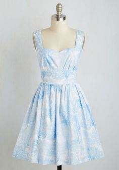Snowfalling For You Dress. Just as the glitter on this frosty blue A-line gleams, so does the twinkle in your sweethearts eye once they get a glimpse of you. #blue #modcloth
