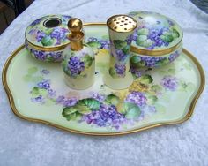 "Spectacular Vintage 1900's Limoges France Hand Painted Vibrant ""Violets"" 5 Pc Dresser Set by the Early Chicago France Studio"