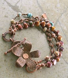 Copper Bracelet Flower Pearls Turquoise Lampwork Metalwork by LuneDesigns on Etsy (sold) Copper Bracelet, Copper Jewelry, Wire Jewelry, Boho Jewelry, Jewelry Crafts, Jewelry Art, Beaded Jewelry, Jewelry Bracelets, Jewelry Accessories