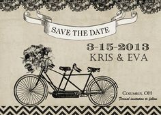 Bicycle for Two Wedding Save the Date  by PartyPopInvites on Etsy, $17.00