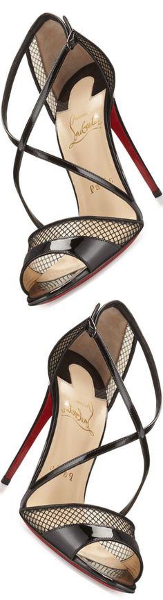 Christian Louboutin Slikova Patent Mesh Red Sole Sandal