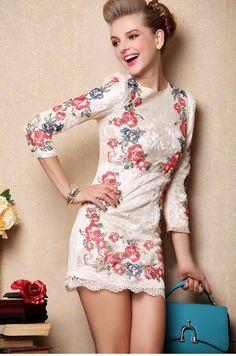 Morpheus Boutique  - White Hollow Out Floral Ruffle 3/4 Sleeve Celebrity Hem Pencil Dress