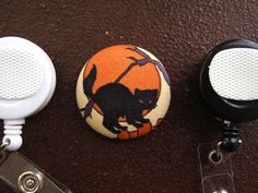 Fabric Covered Button for Clip on Retractable by tallulahssatchels (Accessories, Lanyard, badge reel, retractable, badge strap, clip on, lanyard, fabric button, tag holder, id badge reel, name tag, id, velcro button, Halloween Button, black cat button)