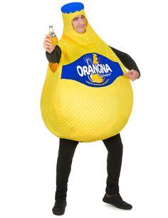 Gelbes Orangina™-Kostüm für Erwachsene bestehend aus einem Overall mit Kapuze. Sehr originell für den nächsten Karneval.