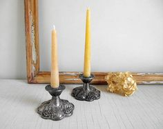 Ornate Silver Candlestick Holders  Viking Silver Plate Candle