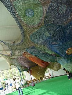 "castle of nets @ Takino Suzuran Hillside National Park ""Rainbow Net"" by crochet artist Horiuchi MacAdam"