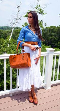 Chambray shirt with white maxi skirt + brown accessories.