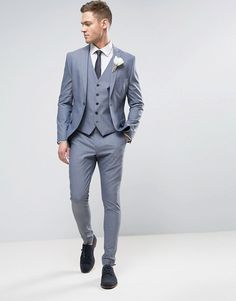 Buy Selected Homme Wedding Super Skinny Suit Jacket at ASOS. With free delivery and return options (Ts&Cs apply), online shopping has never been so easy. Get the latest trends with ASOS now. Grey Suit Men, Mens Suit Vest, Mens Suits, Suit Jacket, Wedding Men, Wedding Suits, Elegantes Business Outfit, Skinny Suits, Herren Outfit