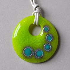 Glass & Fine Silver Pendant Necklace | One of a Kind Wearable Art | Neon Jewelry | Fine Circles Collection - Chartreuse, Turquoise