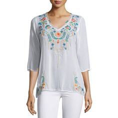Johnny Was Collection Tropic 3/4-Sleeve Embroidery Blouse (5,435 HNL) ❤ liked on Polyvore featuring plus size women's fashion, plus size clothing, plus size tops, plus size blouses, white, three quarter sleeve blouses, v neck 3/4 sleeve tops, white embroidered blouse, sweater pullover and white top
