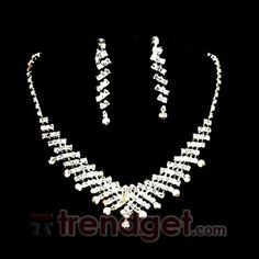 Cheap Alloy with Clear Rhinestone Bridal Jewelry Sets - (Including Necklace and Earring) - $14.99 - Trendget.com