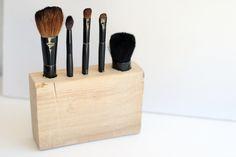 Make a wood DIY makeup brush holder - customize to your brushes!
