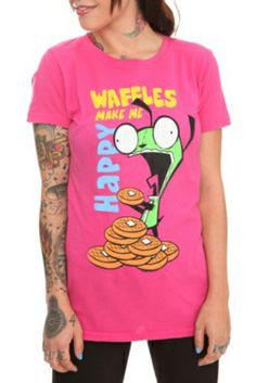 Invader Zim Gir Scratch 'N' Sniff Waffles Girls T-Shirt
