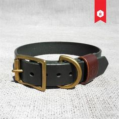 Monogram Two Tone Leather Dog Collar Hunter Green & Chestnut (Personalisable) Image