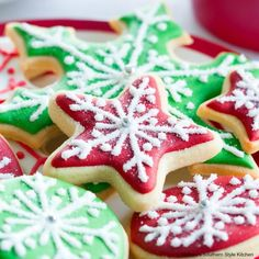 These Cutout Cream Cheese Sugar Cookies topped with seasonal sprinkles and colorful icing, are a sweet project kids of all ages are sure to enjoy. Cream Cheese Sugar Cookies, Lemon Sugar Cookies, Sugar Cookies Recipe, Cookie Recipes, Bar Recipes, Cookie Ideas, Candy Recipes, Free Recipes, Recipies