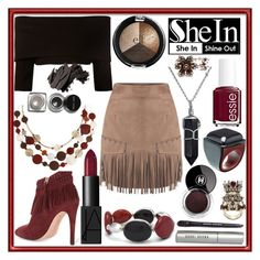 """""""Red Black and Brown"""" by hyperducky ❤ liked on Polyvore featuring Dorothee Schumacher, Essie, Chanel, Bobbi Brown Cosmetics, Rebecca Minkoff, Bling Jewelry, Marni, Chico's, Erica Lyons and Alexander McQueen"""