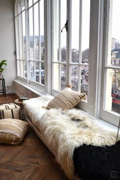 fur covered window seat
