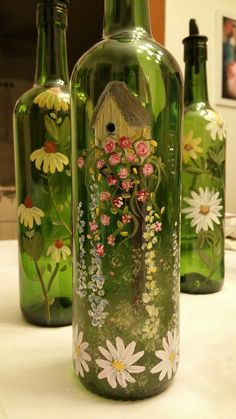 Wine Bottles Painted by Denise Crawford