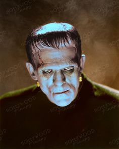 Boris Karloff in his iconic role as the monster in the classic 1931 horror FRANKENSTEIN. Portrait study by Jack Freulich. Color enhanced by Hollywood Pinups from the b&w original. Frankenstein 1931, Golden Age Of Hollywood, Pin Up, Horror, Portrait, The Originals, Art, Art Background, Headshot Photography