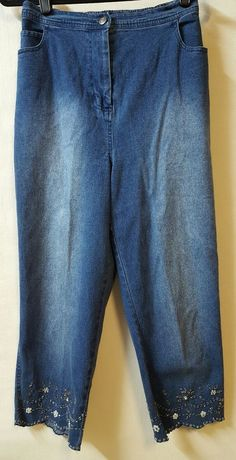 1fcaadee275 Quacker Factory Size Medium Blue Capri Cropped Jean Scalloped Legs Beaded  Detail  QuackerFactory  CapriCropped · Cropped JeansDenim ...