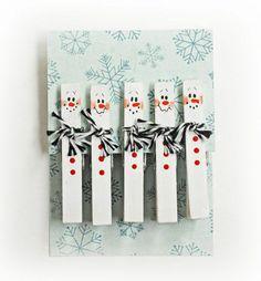 Weihnachtskarten schöne  selber basteln wäscheklammer