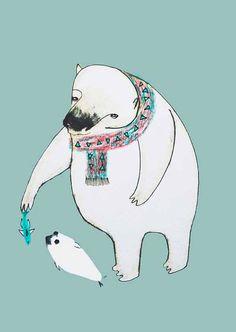 kinderposter ijsbeer met baby