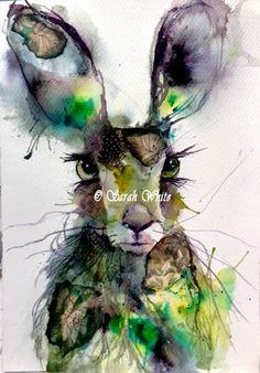 Green Leaf Hare by ArtbySarahWhite on Etsy Alcohol Ink Painting, Alcohol Ink Art, Watercolor Animals, Watercolor Paintings, Watercolours, Hare Illustration, Rabbit Pictures, Bunny Art, Wildlife Art