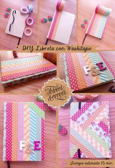 Diy mol n c mo decorar una libreta con washi tape - Como decorar con washi tape ...