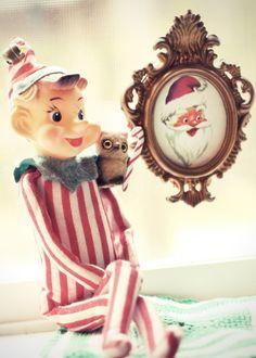 retro Christmas art elf print holiday wall art by TheGinghamOwl, $14.00