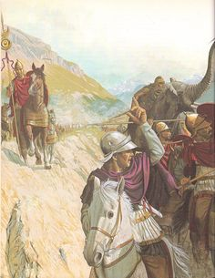 Hannibal, at the head of his army, crosses the Alps, and tries to force his way through the attacking Celts, by Peter Connolly. (Carthage/Punic Wars/Great Generals/Hannibal and the Enemies of Rome) Carthage, Roman History, Art History, Ancient Rome, Ancient History, Punic Wars, Classical Antiquity, Roman Soldiers, History Projects