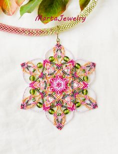 Mandala necklace, bead crochet necklace, star, lotus flower, micro-macrame necklace, macrame jewelry, pink green, unique statement necklace